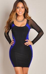 Copy of Hourglass Mesh Long Sleeves Bodycon Black-Blue Dress