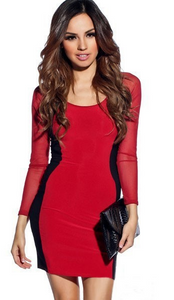 Copy of Hourglass Mesh Long Sleeves Bodycon Red Dress