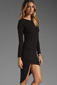 Long Sleeve High-Low Black Fashion Dress