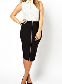 Plus Size Front Zip Decoration Pencil Skirt