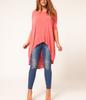 Asymmetrical Design long Hallow Out Plus Size T-shirt