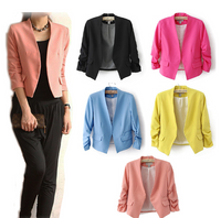 Solid Color Chic Slim 3/4 Sleeve Blazer
