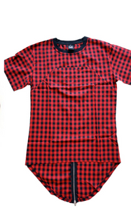 Men Hip Hop Extended Plaid Tee Shirt With Zipper