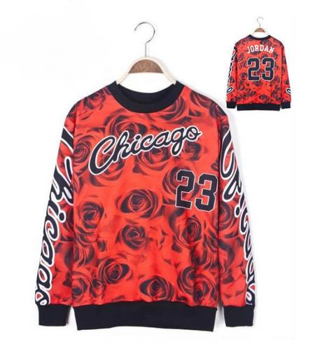 3D Floral Print Chicago Jordan 23 Sweater Hoodie