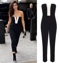 Kim K Strapless V-Neck Black and White JumpSuit