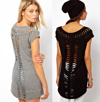Women Midi Hallow Out Twist Knit Tee