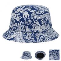 Paisley Bandana Bucket Unisex Hat - Blue
