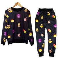 Unisex Emoji Sweatpants Joggers and Sweater Black - Set