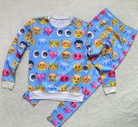 Unisex Emoji Sweatpants Joggers and Sweater Blue - Set