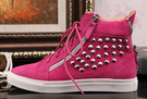 Genuine Leather Zanotty Style Rivets High-top Unisex Sneakers