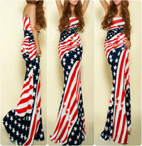 Novelty Ms American Star Print Strapless Maxi Dress