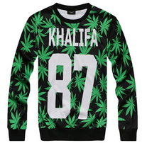 Wiz Khalifa 3D 87 Weed Print Pullover Sweater - Unisex BrytCouture