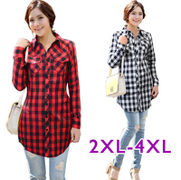 Casual Longsleeves Plaid Women Shirt