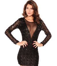 Sizzling Black Sequin Longsleeves Mini Dress - BrytCouture