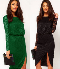 Autumn 2014 Long Sleeves Midi Cowl Back Dress