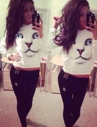 3D Cat Print Women Pullover Sweater - White
