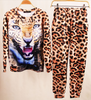 3D Leopard Print Women Pullover Sweater and Jogging Pant Set