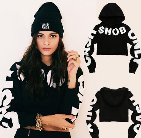 CASH ONLY SNOB Women's Crop Hoodie