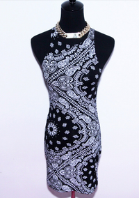 BrytCouture Limited Edition Monochrome Paisley Bandana Tank Dress