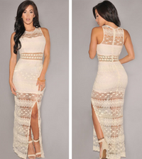 Cream Crochet Accent Lace Evening Dress