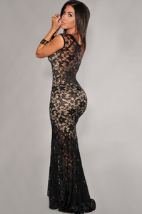 Two-toned Sexy Lined Long Lace Evening Maxi Dress - Black