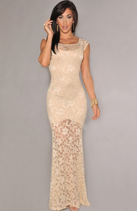 Two-toned Sexy Lined Long Lace Evening Maxi Dress