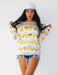 Emoji 3D Pullover Sweater White