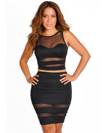 Mesh Cut Out Skirt and Top Set - Black
