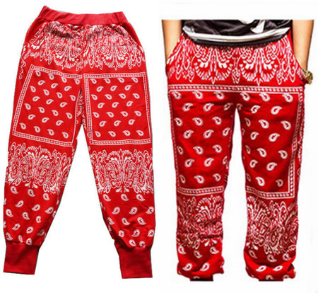 Paisley Bandana Harem Hip Hop Jogging Sweatpants - Red