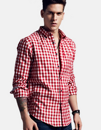 Cotton Plaid Long Sleeves Shirt Red White