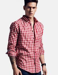 Cotton Plaid Long Sleeves Shirt Red White