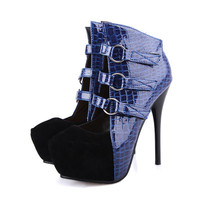 Closed Toe Stiletto High Heel Shoe Blue