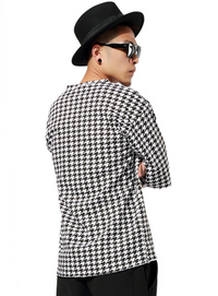 Loose Black and White Plaid Men T-shirt