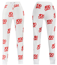100 Emoji Limited Edition Joggers Sweatpants - White
