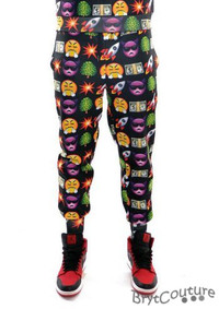 Men's Fleece Emoji Joggers Sweatpant - Black