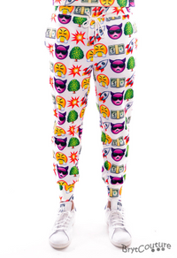 Men's Fleece Emoji Joggers Sweatpant - White