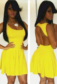Scoop Out Skater Dress - Yellow