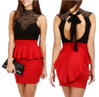 Hollow-out Peplum Back Peplum Dress - Red