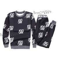 BrytCouture Limited Edition 100 Emoji Joggers and Sweatshirt - Set.