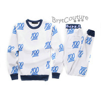 BrytCouture Limited Edition 100 Emoji Joggers and Sweatshirt - Blue Set