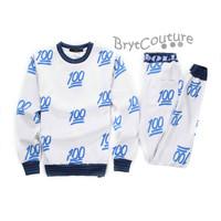 BrytCouture Limited Edition 100 Emoji Joggers and Sweatshirt - Blue Set