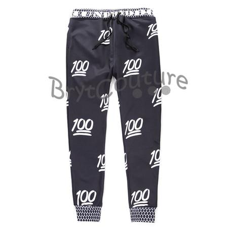 BrytCouture Limited Edition 100 Emoji Joggers Black