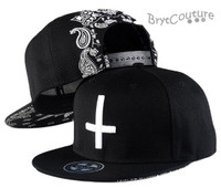 Hip Hop Cross Embroidery Bandana Snap Back Hat