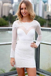 Gorgeous White Lace Backless Mini Dress