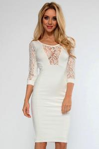 Cream Lace Insert Midi Dress