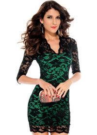 Half Sleeves Lace Mini Clubwear Dress Red and Green