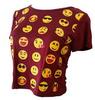 Emoji Short Sleeve Women T-Shirt Burgundy