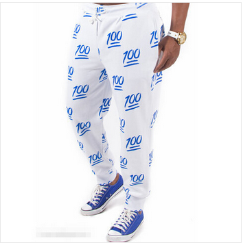 100 Emoji Limited Edition Unisex Joggers Sweatpants - Blue Emoji Jogging pants, emoji sweat pants