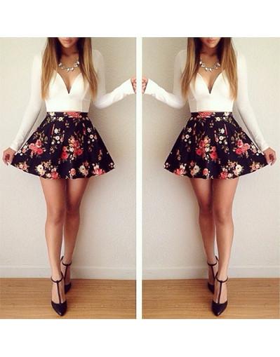 Floral Print Couture Mini Dress - White