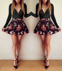 Floral Print Couture Mini Dress - Black
